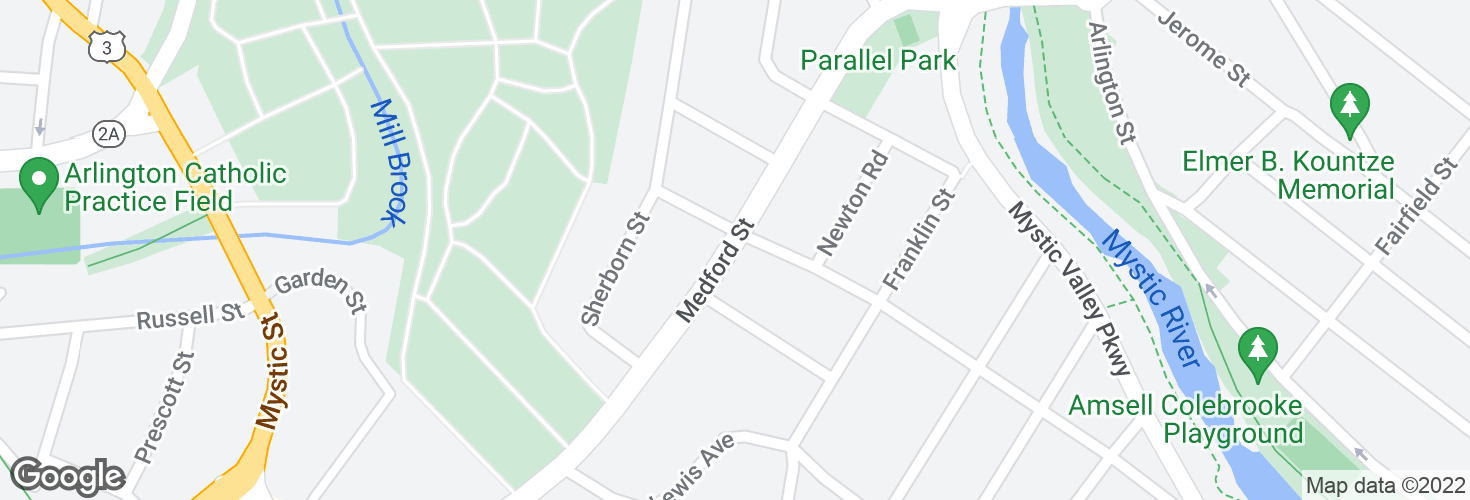 Map of Medford St @ Hamlet St and surrounding area