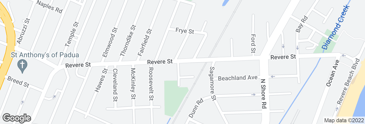 Map of Revere St @ Michael Della Russo Way and surrounding area