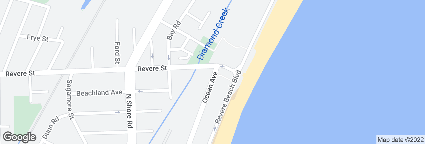 Map of Ocean Ave @ Revere St and surrounding area