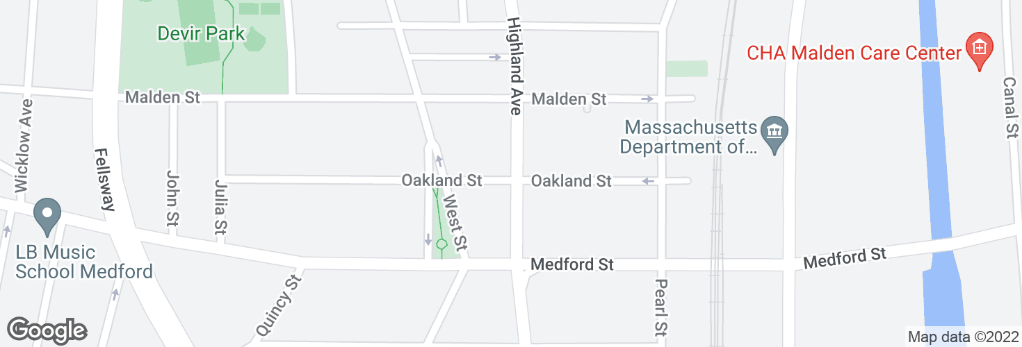 Map of Highland Ave @ Oakland St and surrounding area