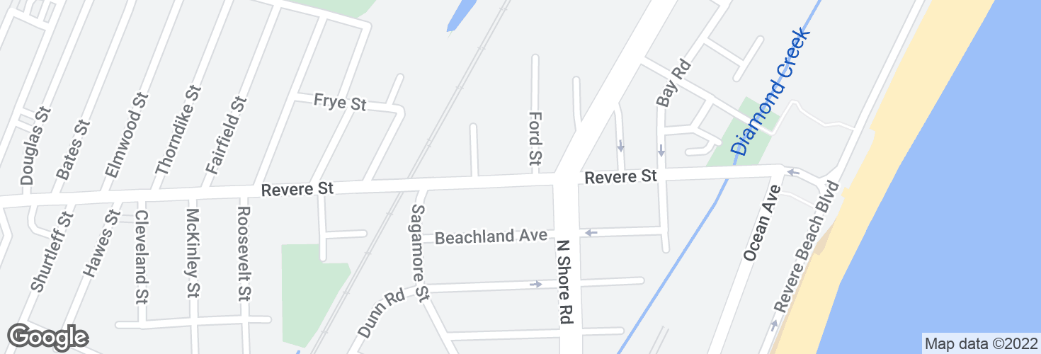 Map of Revere St @ Ford St and surrounding area