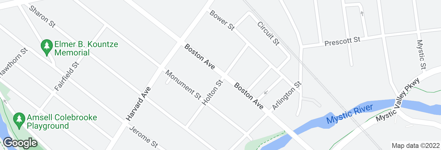 Map of Boston Ave @ Holton St and surrounding area
