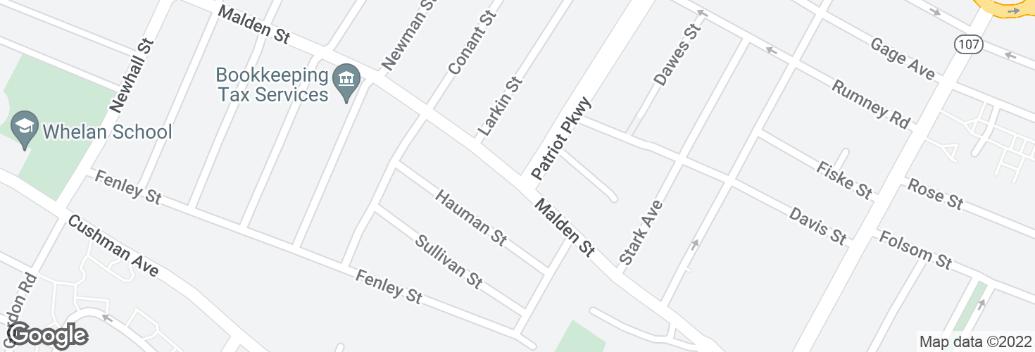 Map of Malden St @ Patriot Pkwy and surrounding area