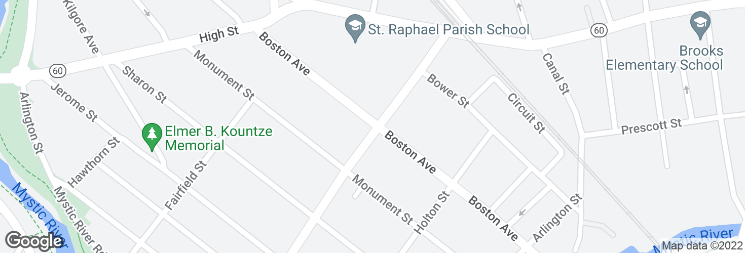 Map of Boston Ave @ Harvard Ave and surrounding area