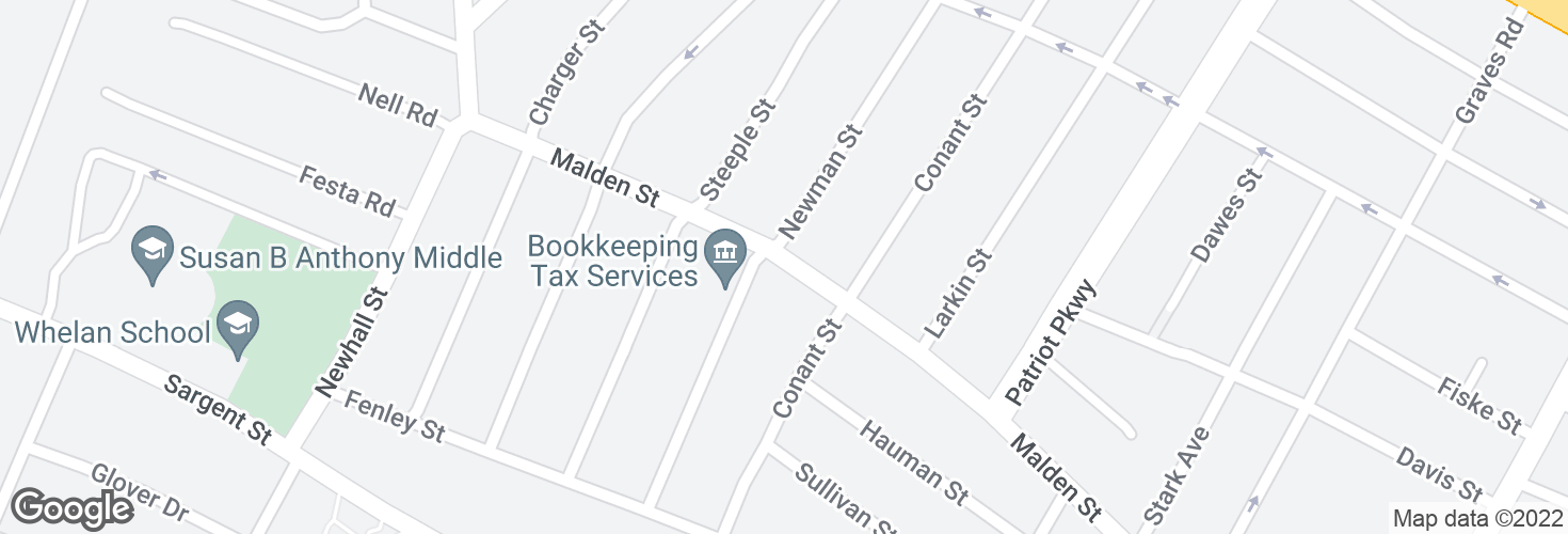 Map of Malden St @ South St and surrounding area