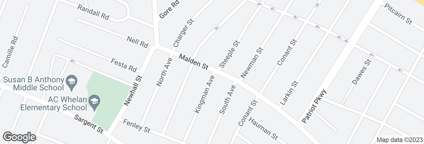 Map of Malden St @ Kingman Av and surrounding area