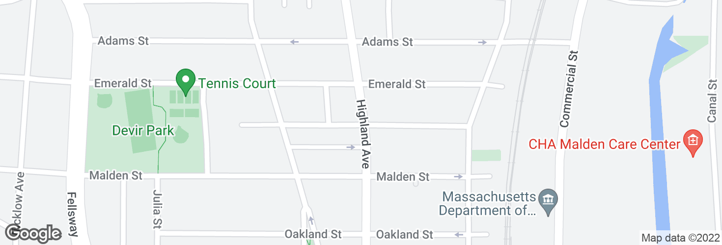 Map of Highland Ave @ Thacher St and surrounding area