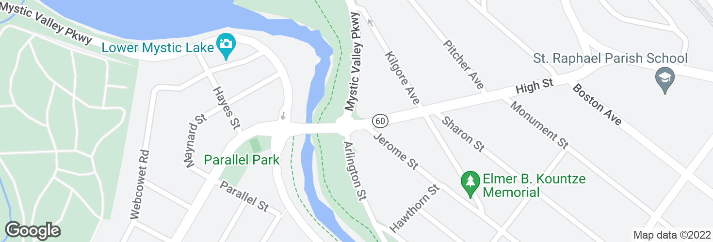 Map of High St @ Mystic Valley Pkwy and surrounding area