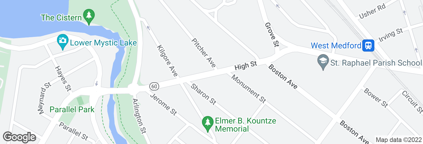 Map of High St @ Pitcher Ave and surrounding area