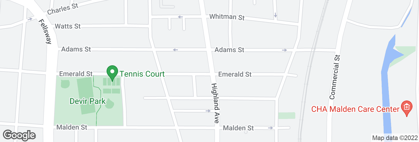 Map of Highland Ave @ Emerald St and surrounding area