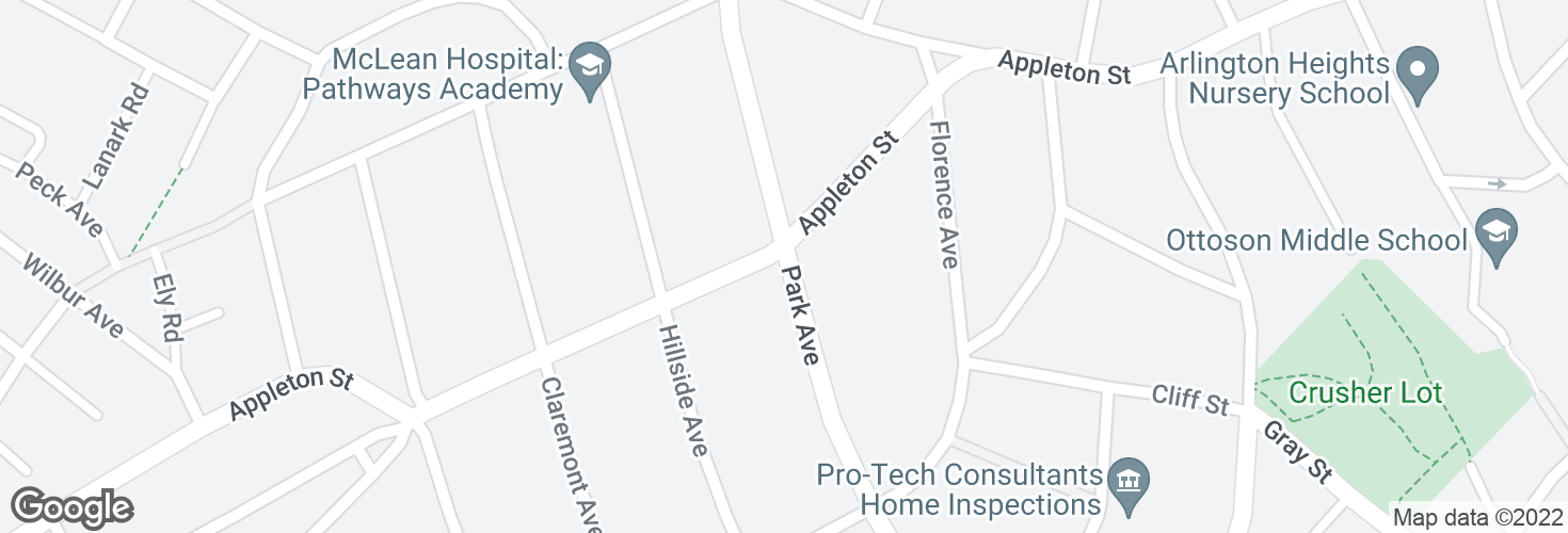 Map of Park Ave @ Appleton St and surrounding area