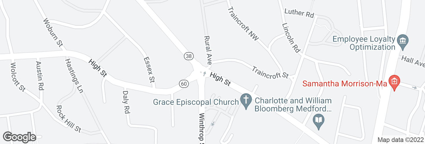 Map of High St @ Rural Ave - Winthrop Circle and surrounding area