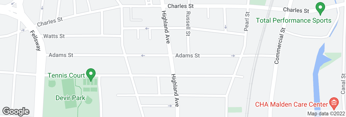 Map of Highland Ave @ Adams St and surrounding area