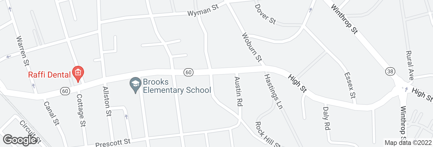 Map of High St @ Wolcott St and surrounding area