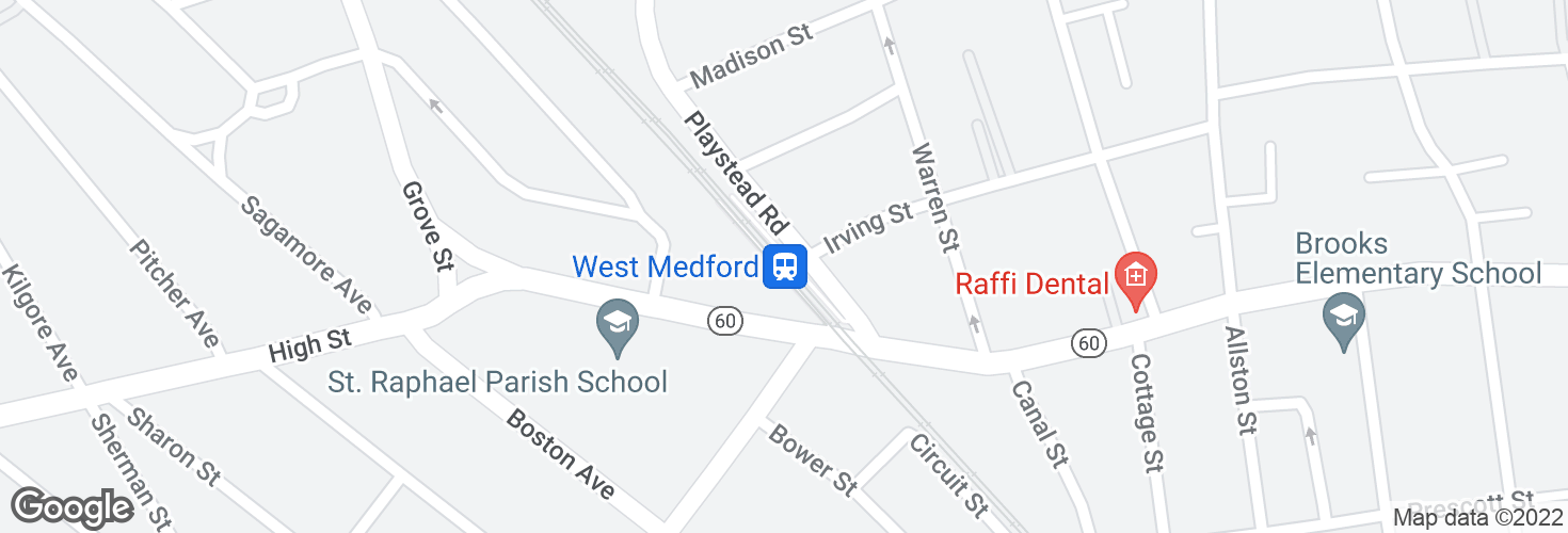 Map of West Medford and surrounding area