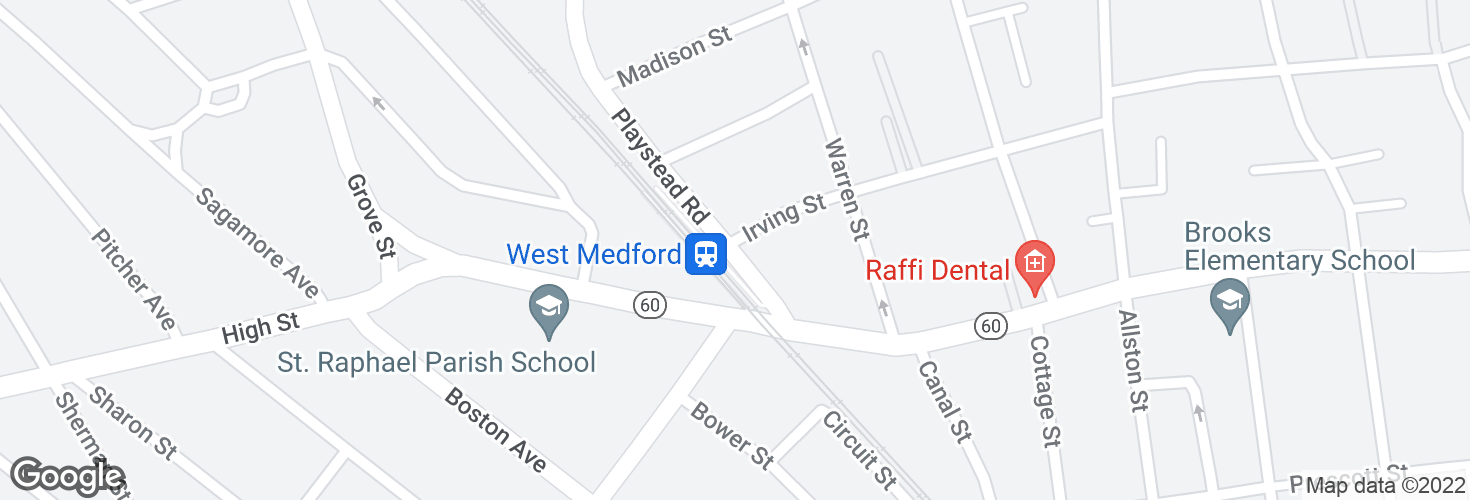 Map of Playstead Rd @ Irving St - W Medford Sta and surrounding area