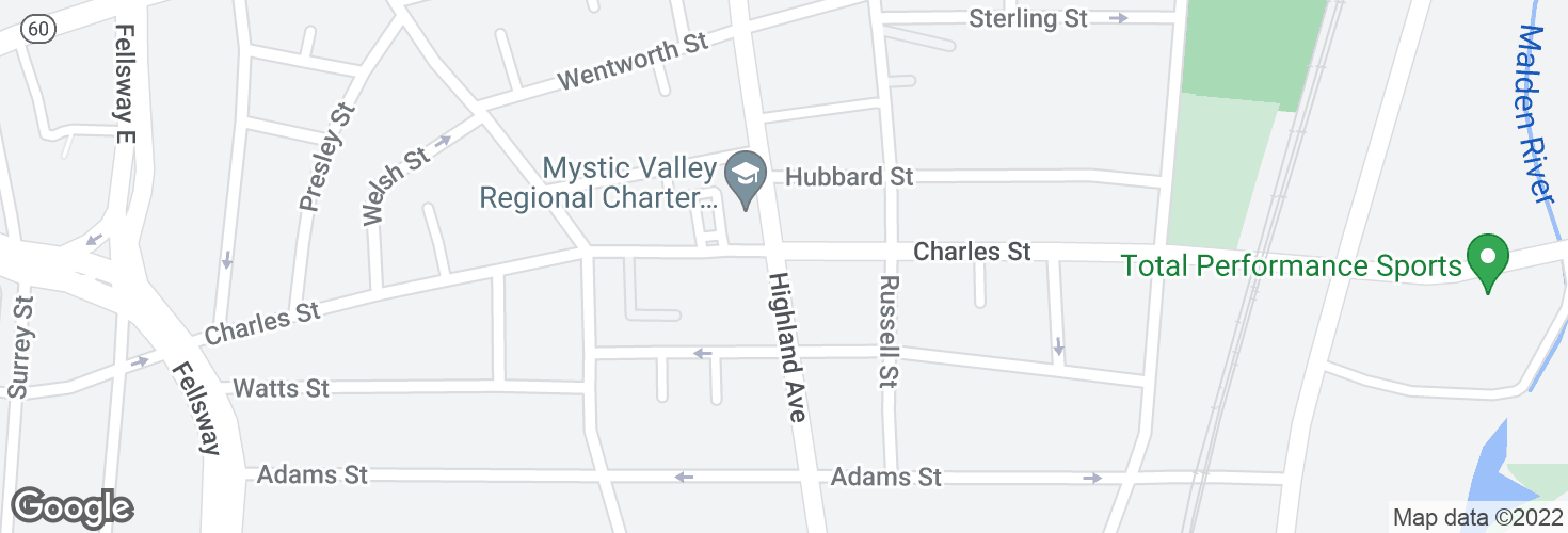 Map of Highland Ave @ Charles St and surrounding area
