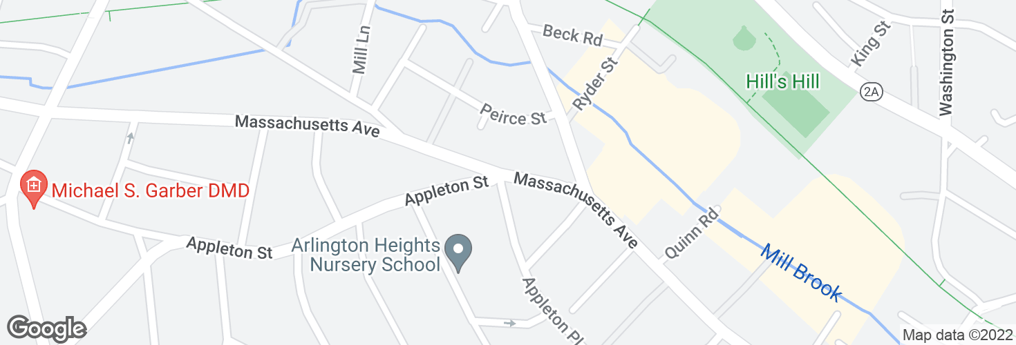 Map of Massachusetts Ave opp Appleton St and surrounding area