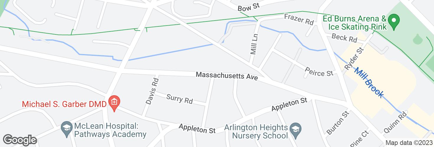 Map of Massachusetts Ave opp Daniels St and surrounding area