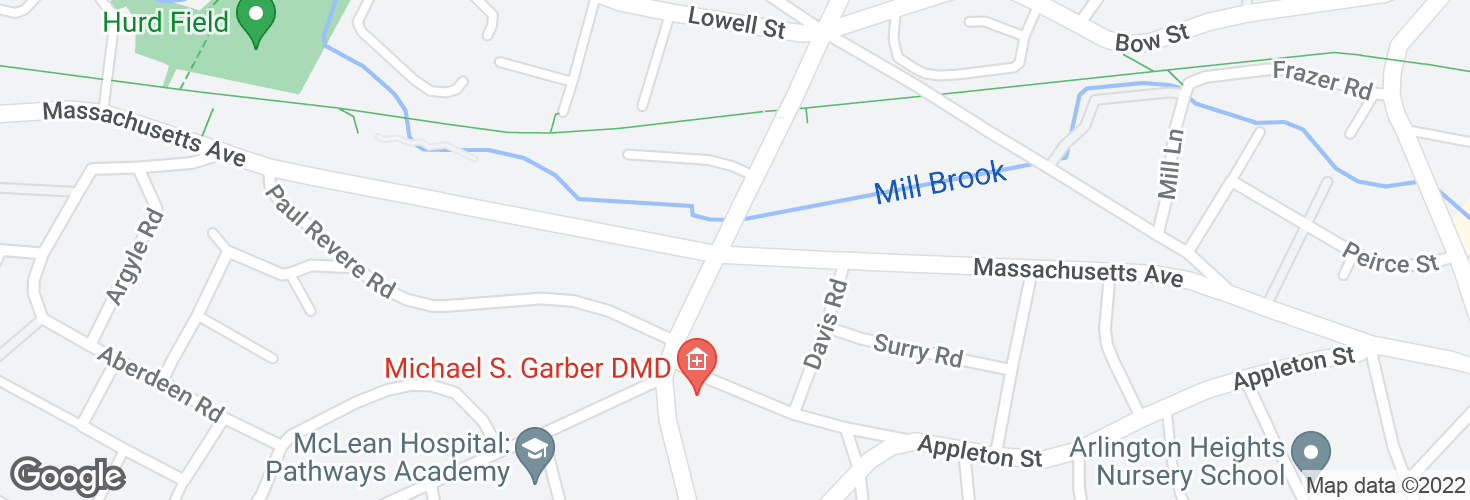 Map of Massachusetts Ave @ Park Ave and surrounding area