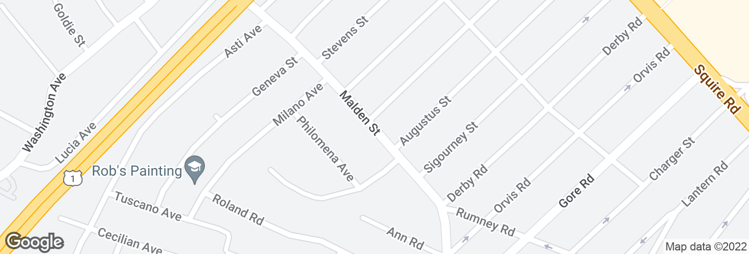 Map of Malden St @ Keayne St and surrounding area