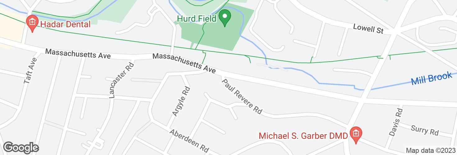Map of Massachusetts Ave @ Paul Revere Rd and surrounding area