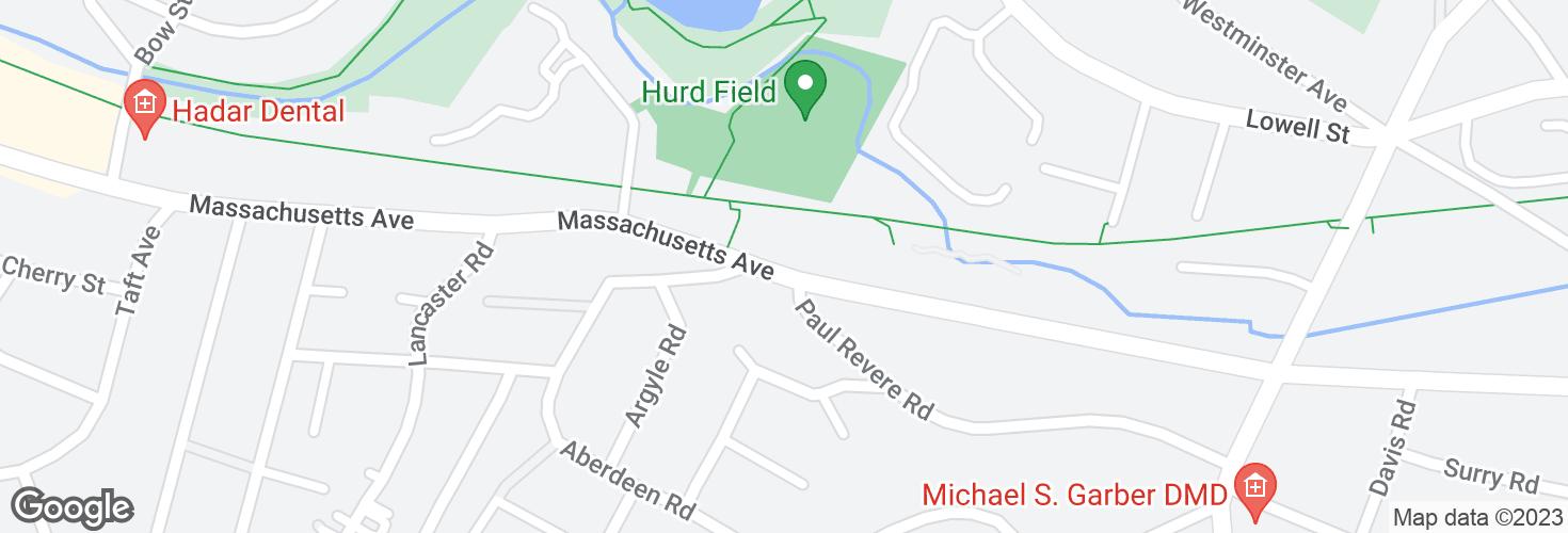 Map of Massachusetts Ave opp Paul Revere Rd and surrounding area