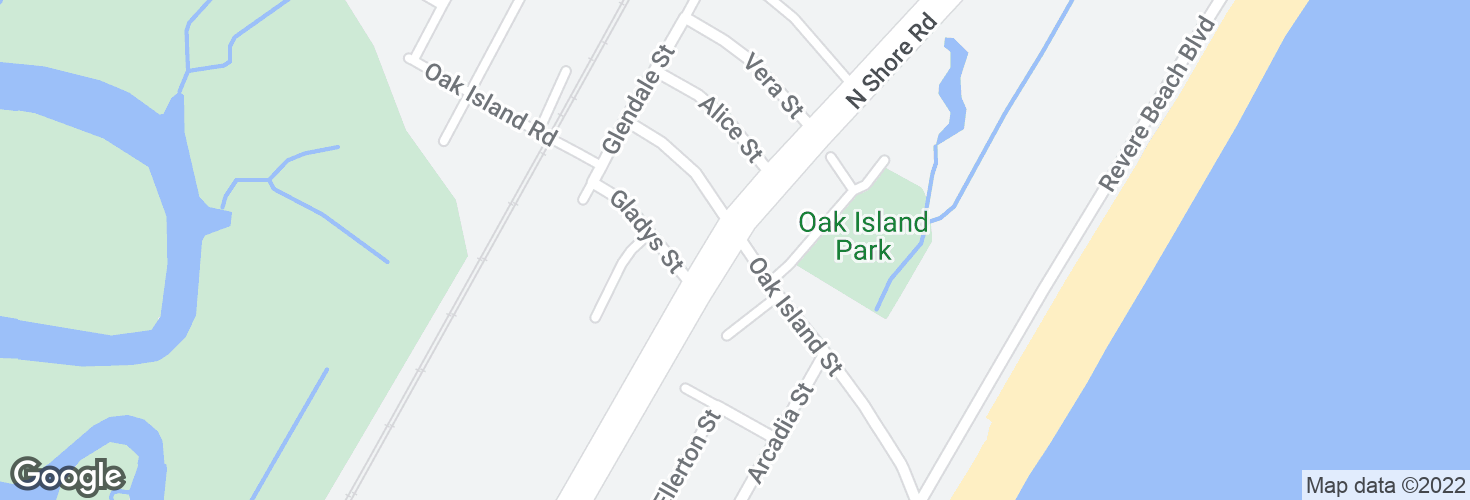 Map of N Shore Rd @ Oak Island St and surrounding area