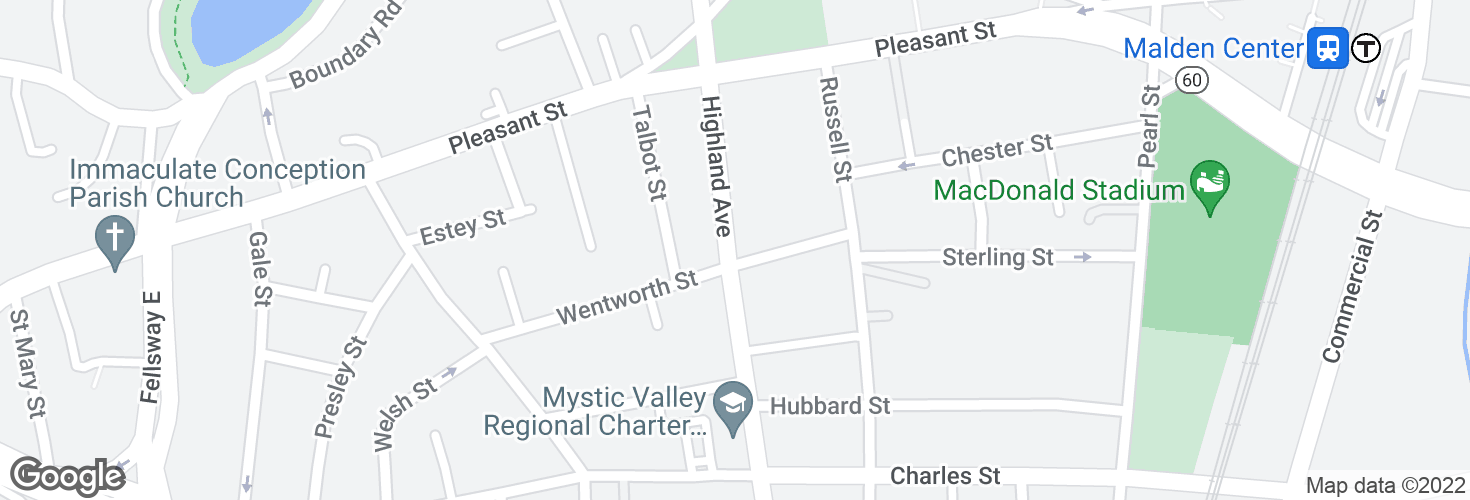 Map of Highland Ave @ Wentworth St and surrounding area
