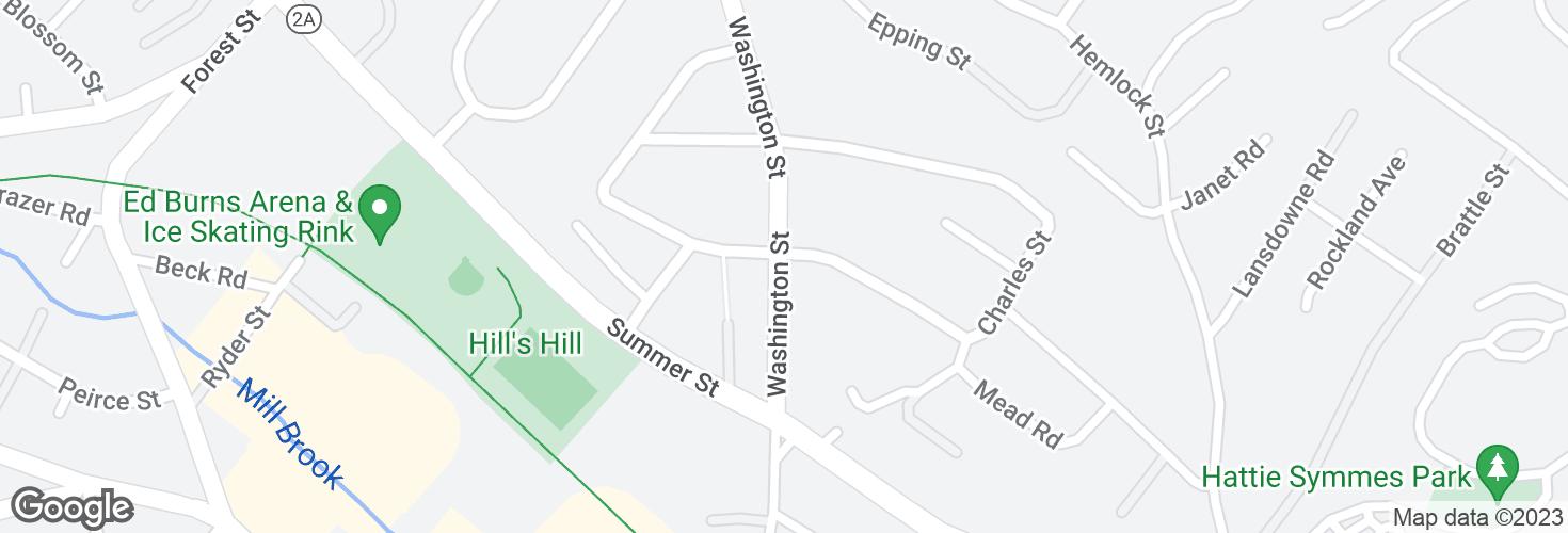 Map of Washington St @ Candia St and surrounding area