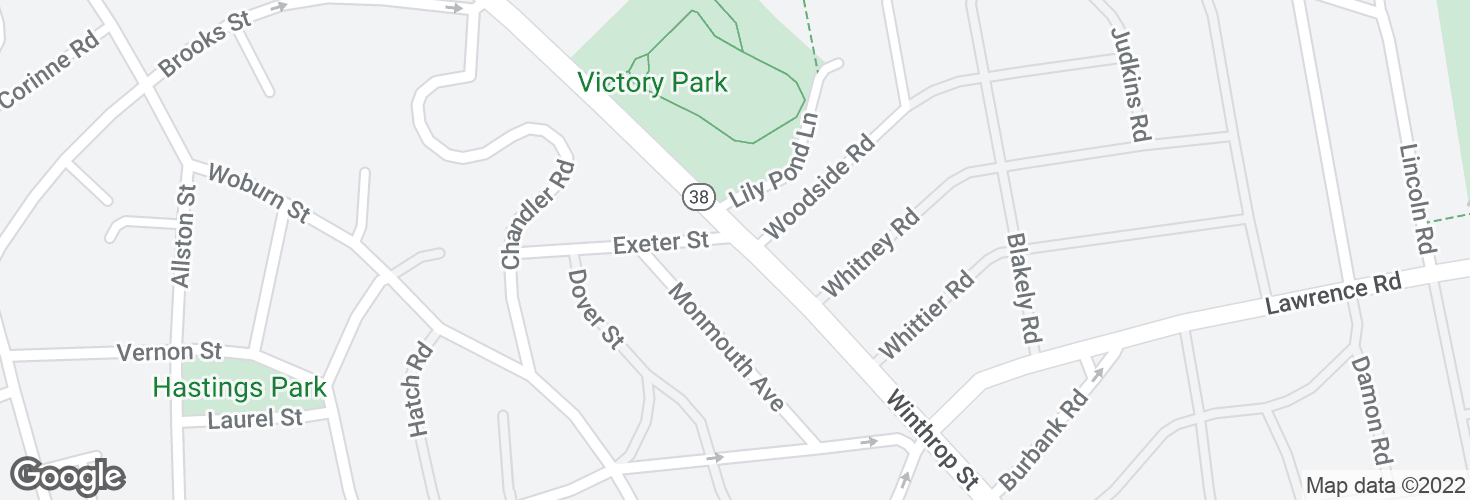 Map of Winthrop St @ Exeter St and surrounding area