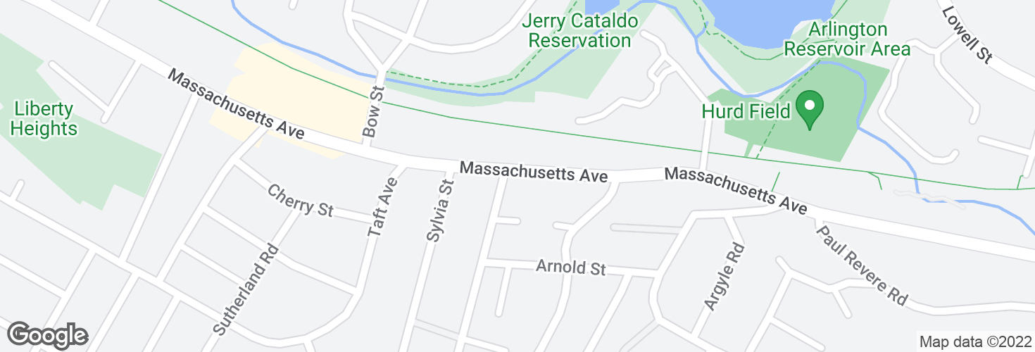 Map of Massachusetts Ave @ Hibbert St - Arlington Line and surrounding area