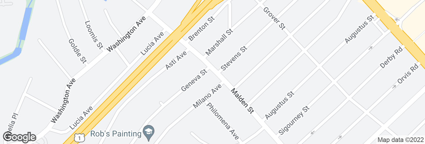 Map of Malden St @ Geneva St and surrounding area