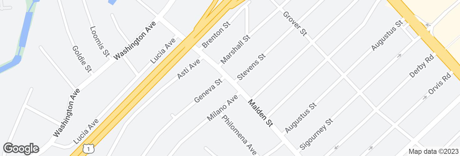 Map of Malden St @ Stevens St and surrounding area