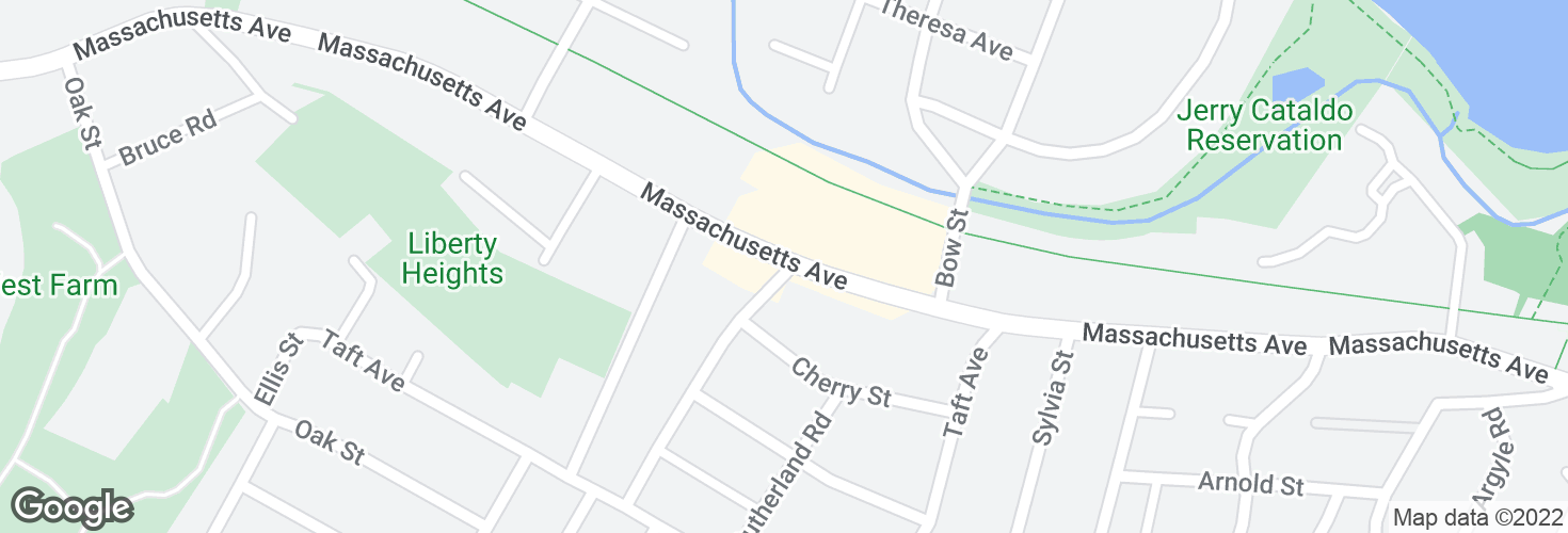 Map of Massachusetts Ave @ Charles St and surrounding area