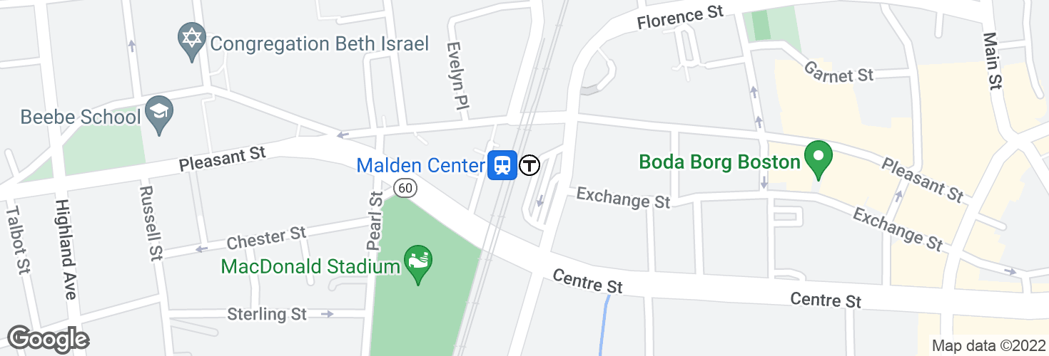 Map of Malden Center and surrounding area