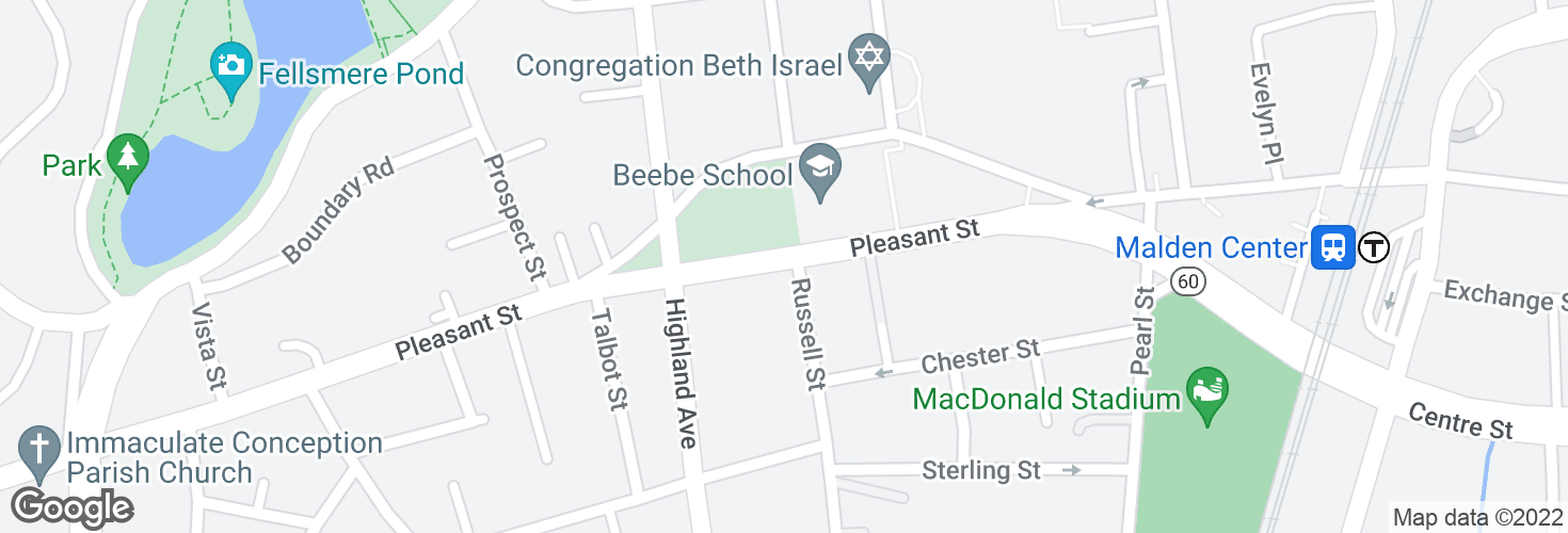 Map of Pleasant St @ Russell St and surrounding area