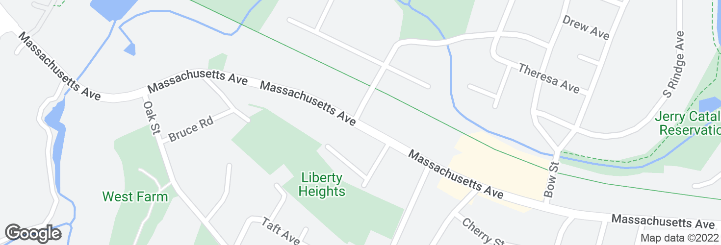 Map of Massachusetts Ave @ Fottler Ave and surrounding area