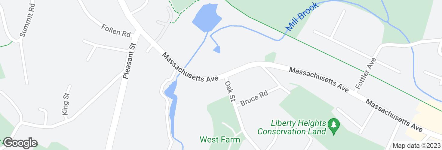 Map of Massachusetts Ave opp Oak St and surrounding area