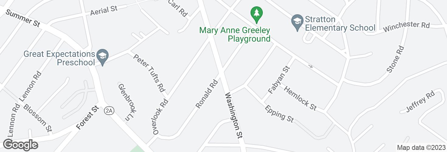 Map of Washington St @ Ronald Rd and surrounding area