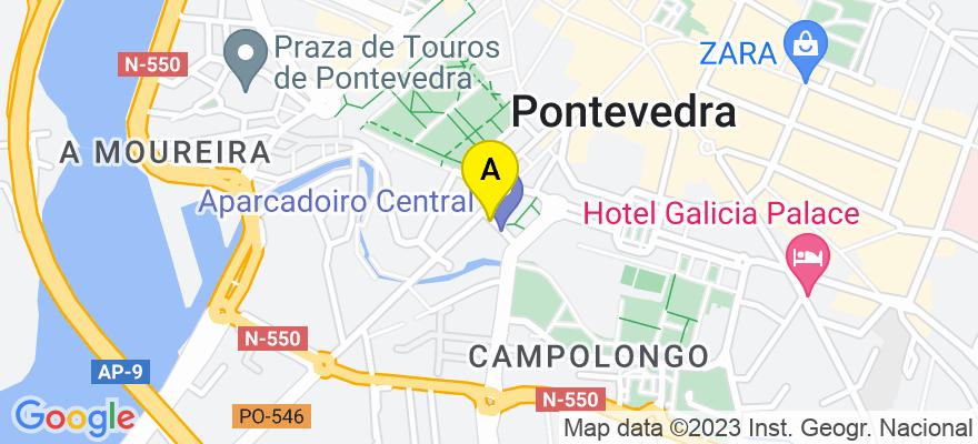 situacion en el mapa de . Direccion: Gagos de Mendoza, 2 – 5º Of.1-2, 36001 Pontevedra. Pontevedra