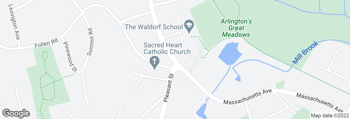 Map of Massachusetts Ave opp Pleasant St and surrounding area