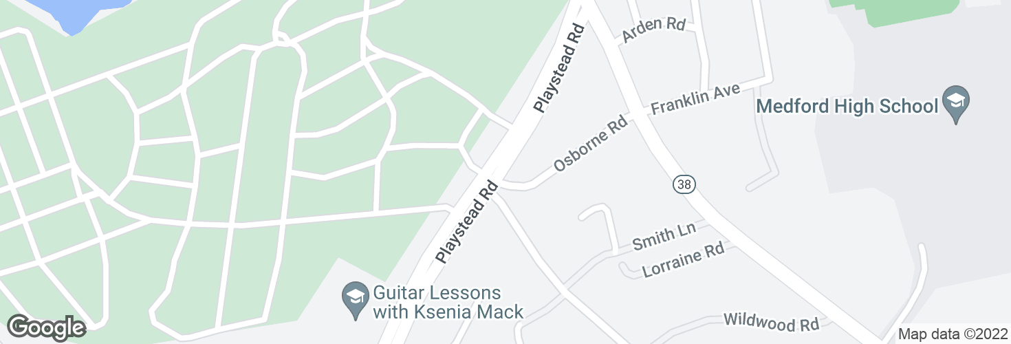 Map of Playstead Rd @ Osborne Rd and surrounding area