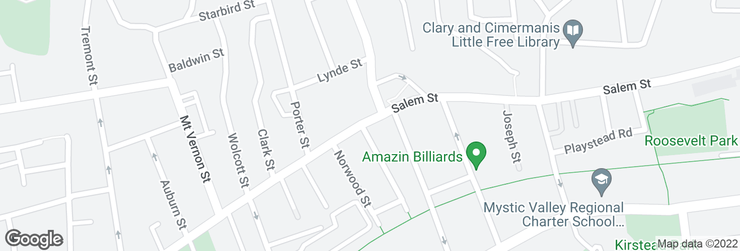 Map of Salem St @ Harding Ave and surrounding area