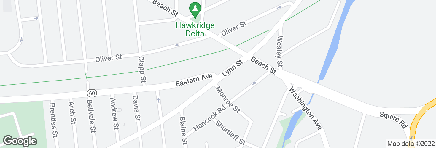Map of Eastern Ave @ Lynn St and surrounding area