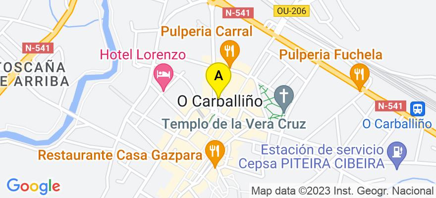situacion en el mapa de . Direccion: PLAZA DEL EMIGRANTE, Nº16, 2º, 32500 O Carballiño. Ourense