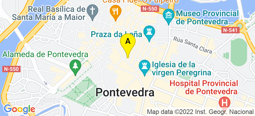 situacion en el mapa de . Direccion: PLAZA CURROS ENRIQUEZ Nº 4 - 1º B, 36002 Pontevedra. Pontevedra