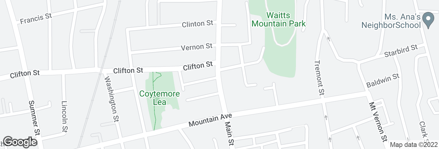 Map of Main St @ Park Ave and surrounding area