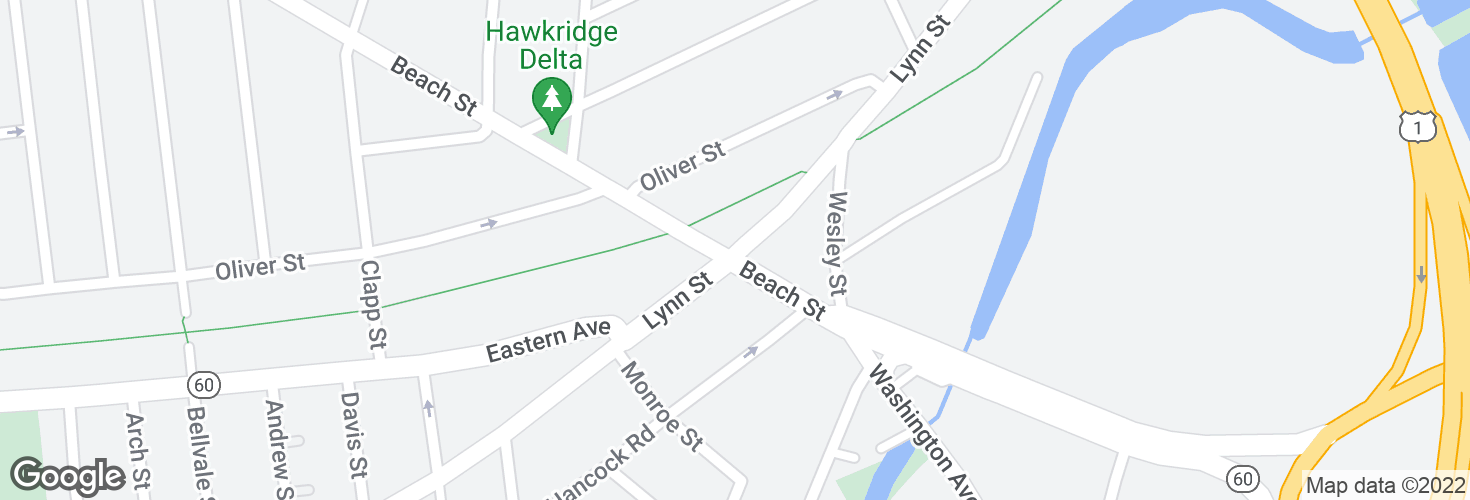 Map of Lynn St @ Beach St and surrounding area