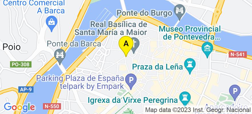 situacion en el mapa de . Direccion: C/ Cobián Areal nº 14 oficina 503, 36001 Pontevedra. Pontevedra